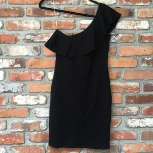 Jolie Black One Shoulder Fitted Dress Ruffle Top